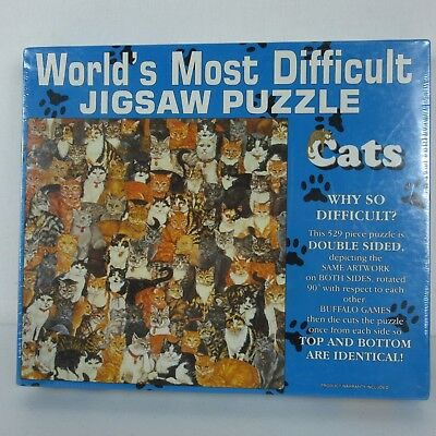 Cats Worlds Most Difficult Jigsaw Puzzle 529 Double Sided Buffalo Games Vintage