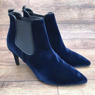 SIZE UK 4 KENNELL & SCHMENGER DARK BLUE VELVET POINTED STILETTO CHELSEA BOOTS