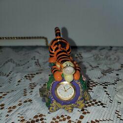 "Disney Winnie the Pooh Tigger Desk Clock  ""It's Tigger Time"" Figure Statue"