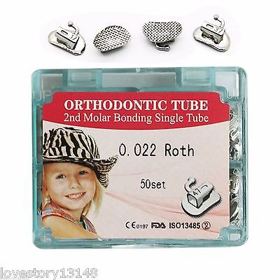 50 Kit Dental Orthodontic Non Convertible Bonding Buccal Tube Roth 022 2Nd Molar