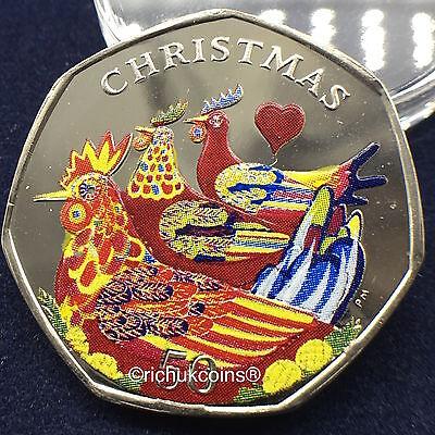 2007 IOM Xmas Colour-printed Diamond Finish 50p Coin