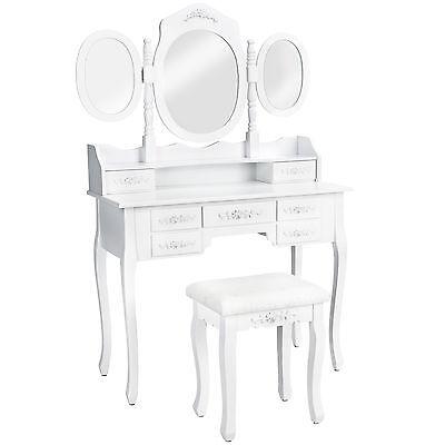 Kosmetiktisch weiß mit 3 Spiegel Hocker Schminktisch Spiegeltisch Frisiertisch