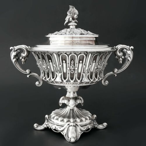 Antique French Sterling Silver Pierced Centerpiece Compote Bowl Drageoir