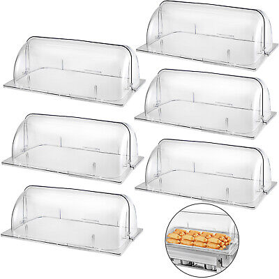 6 Pack Chafing Dish Cover Clear Full Size Roll Top Bakery Pan Display Case
