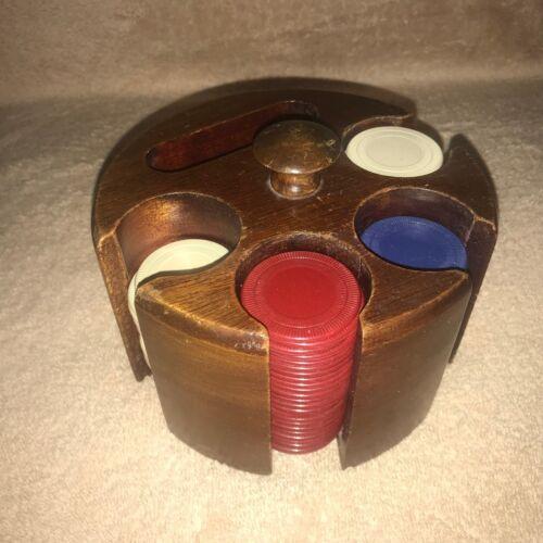 Vintage Wood Poker Chip Rack with 86 Interlocking Plastic Poker Chips Set