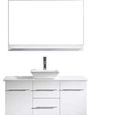 "Marsala 48"" Single Sink Basin Bathroom Vanity Cabinet Stone Top w/Mirror White"