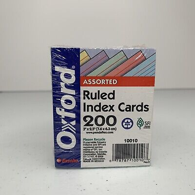 Oxford Mini Ruled Index Cards Ruled 3. X 2.5 Assorted Colors 200 Ea 2pk