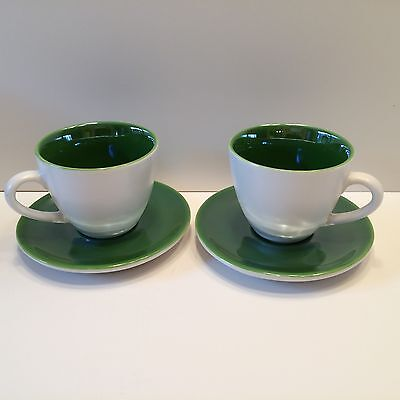 2005 Starbucks Coffee Espresso Cup and Saucer Set Green Pearlescent - Set of 2
