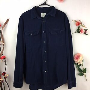 Ruffian for Threads & Heirs Mens Corduroy Button Front Shirt L. Navy Blue