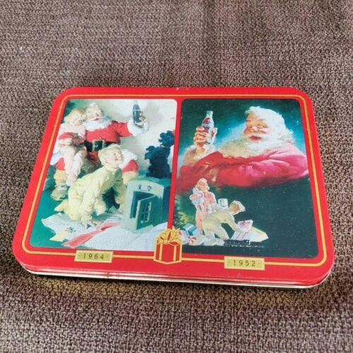 1996 Coca-Cola Santa Claus Playing Cards Christmas Two Decks in Tin