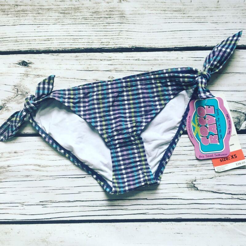 NWT Coco Rave Bikini Classic Swim Bottom Blue Plaid Size XS