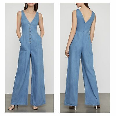 BCBGMAXAZRIA Women S Sleeveless Button Front Denim Jumpsuit