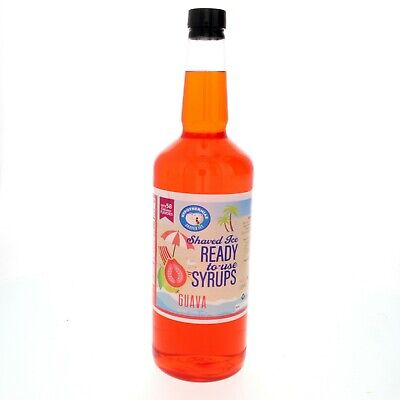 Snow Cone Or Hawaiian Shaved Ice Flavored Syrup Guava Quart 32 Fl. Oz
