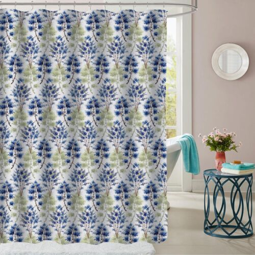 Florence Blue/Green Floral Fabric Bathroom Shower Curtain 70″x72″ Bath