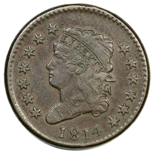 1814 S-295 Plain 4 Classic Head Large Cent Coin 1c