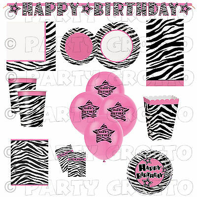 ZEBRA PASSION Animal Print Birthday Girls Party Supplies Tableware Decorations (Animal Print Tableware)
