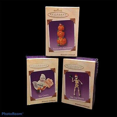 Lot of 3 Hallmark Halloween 2003 Ornaments Tap Happy Van Ghoul Stack O Lanterns