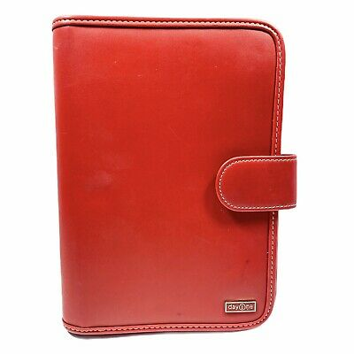 Franklin Covey Day One Red Synthetic Leather 7 Ring Binder Snap Closure 7 X 10