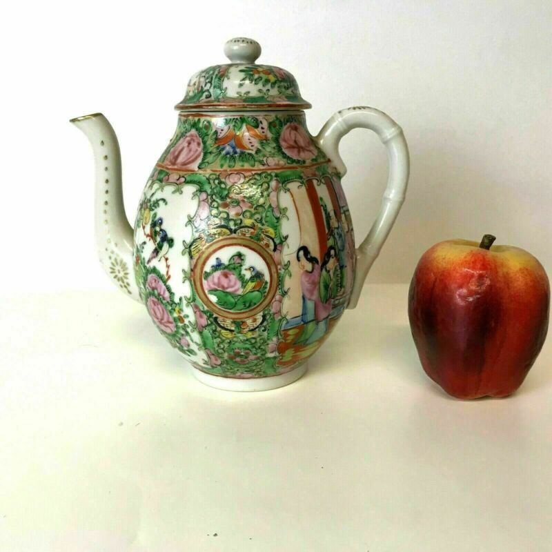 Vintage Chinese Porcelain Rose Medallion Teapot Bamboo Handle