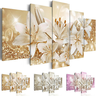 Canvas Wall Art Image Photo Print Lily Flowers Abstract b-A-0309-b-n