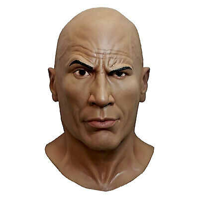 Men's WWE World Wrestling Dwayne The Rock Johnson Latex Halloween Costume Mask