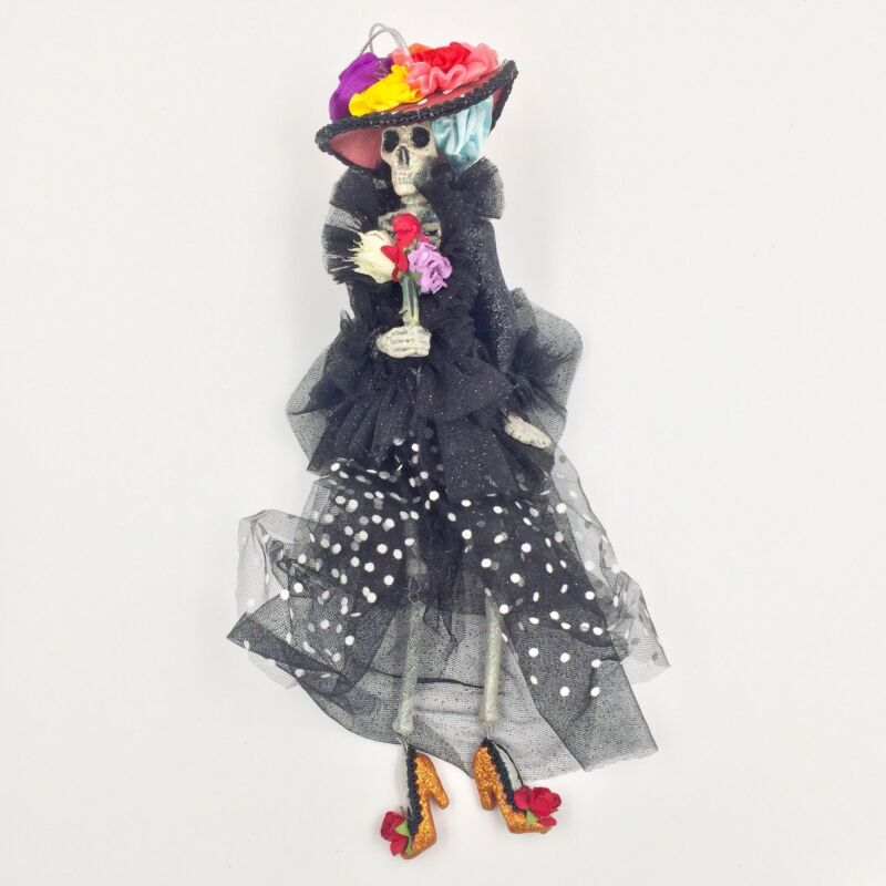 Sexy Day of Dead Skeleton Lady w Coffin Ornament Katherine