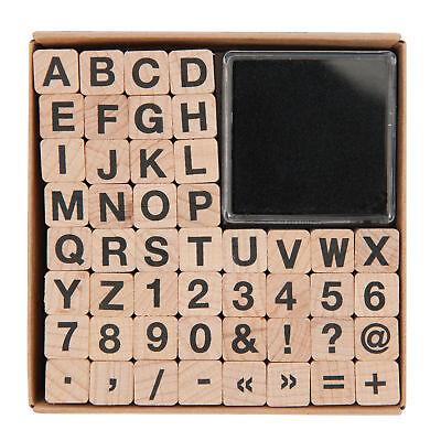 Stempelset Buchstaben und  Zahlen 48Stempel 1x1cm Alphabet und Zahlenstempel ABC (Buchstaben X Stempel)