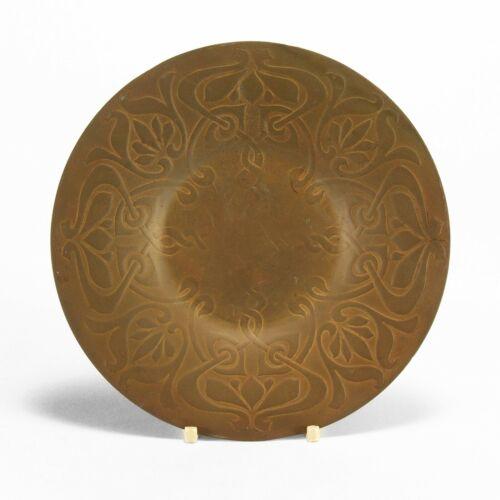 "Art Crafts Shop Buffalo NY acid etched brass 7"" plate no enamel Heintz Art Metal"