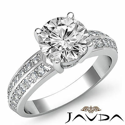 Micro Pave Bezel Setting Round Cut Diamond Engagement Ring GIA H Color SI1 1.3Ct