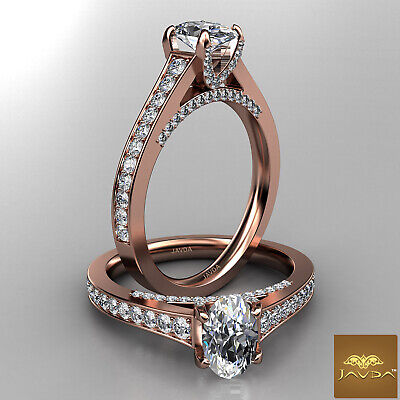 Bridge Accent Oval Diamond Engagement Cathedral Ring GIA Certified F VVS1 1.25Ct 8