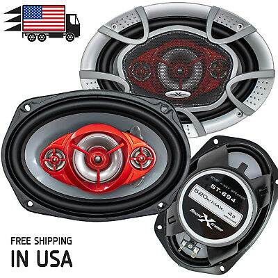 "New SoundXtreme 6x9"" 4-Way 520 Watts Coaxial Car Speakers CEA Rated 4-Ohm (Pair)"