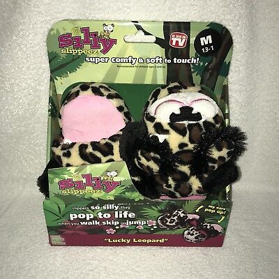 b19ccfb9e5f Silly Slippeez Leopard Girls Slippers Medium Shoe Size 13-1 Glow In the  Dark New