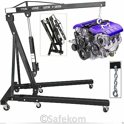 Professional 1T 1 Ton Folding Engine Crane Hoist Lift Hydraulic Jack Stand Wheel