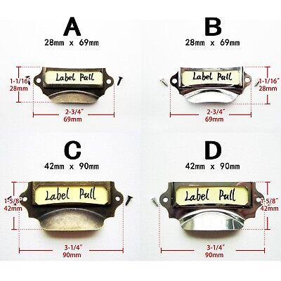 6x Antique Brass Silver Drawer Label Pull Cabinet Frame Handle Name Card (Cabinet Frame)