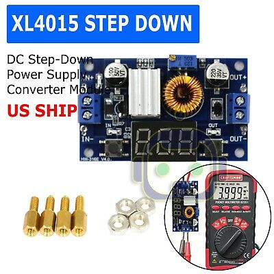 XL4015 5A DC Buck Step-down Adjustable Voltage Power Converter w/ LED Voltmeter