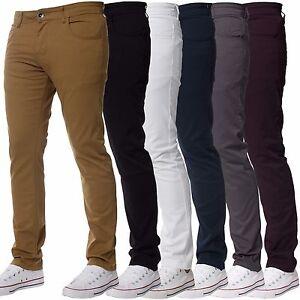 Hombre-kruze-Diseno-Elastico-Ajustado-Chinos-Pantalones-Todas-las-CINTURAS