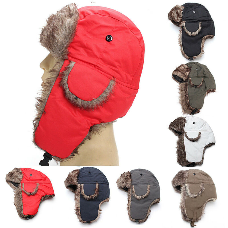 Men Aviator Bomber Winter Hat Trooper Faux Fur Lining With E