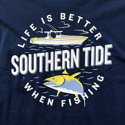 SOUTHERN TIDE Life Is Better When Fishing Tee T-Shirt Long Sleeve Yacht Blue