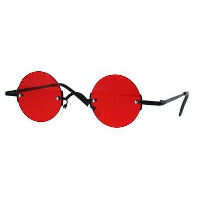 Small Round Circle Color Lens Rimless Sunglasses Wide Frame Narrow (Circle Lens Shades)