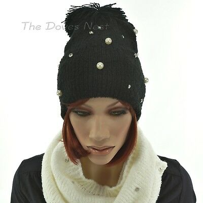 - SO Women's BLACK BEANIE HAT with POM Faux PEARL & CRYSTAL Accent WINTER KNIT CAP