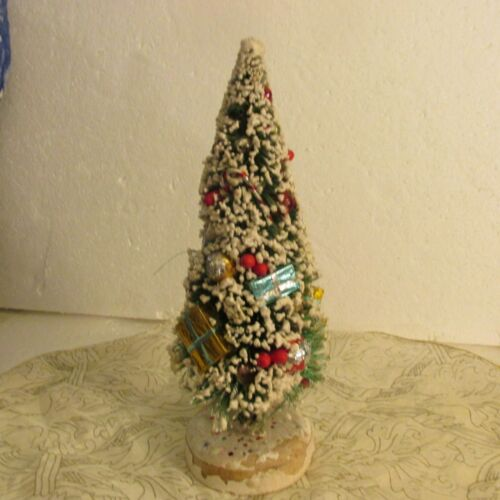 "Vtg Christmas Tree Bottle Brush Mica Tips Japan Ornament 10"" Packages Gifts"
