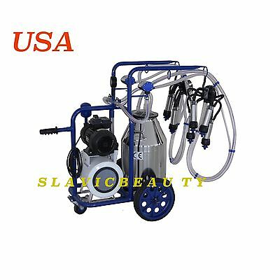 Cow Milker Electric Milking Machine X 2 Cows Vacuum Pump 304l Stainlessextras