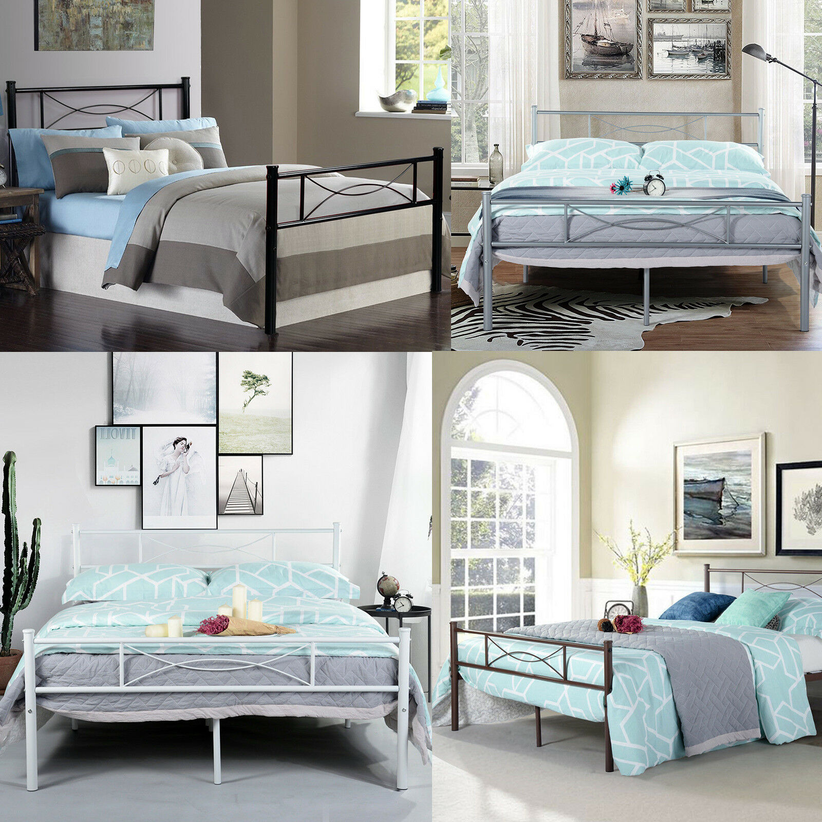 bedroom full metal bed frame platform base