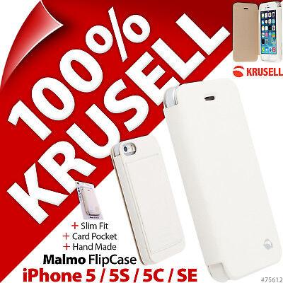 Krusell Malmo Flip Case Hülle Portemonnaie Folio Weiß für Apple IPHONE 5 5 S 5C (Folio Case Für Iphone 5s)