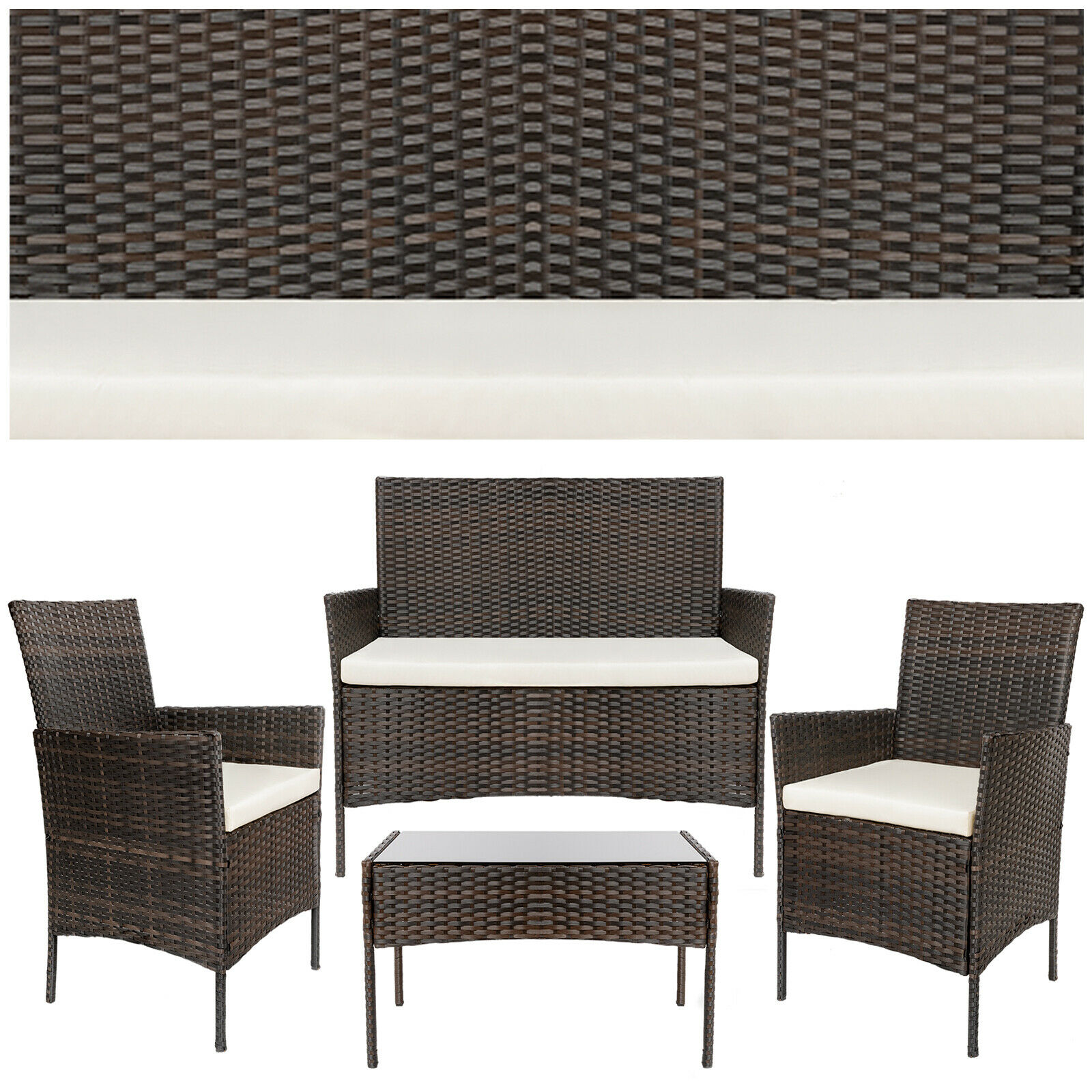 Garden Furniture - Luxury ratan garden furniture, outdoor 2-seater sofa + 2 armchairs + table