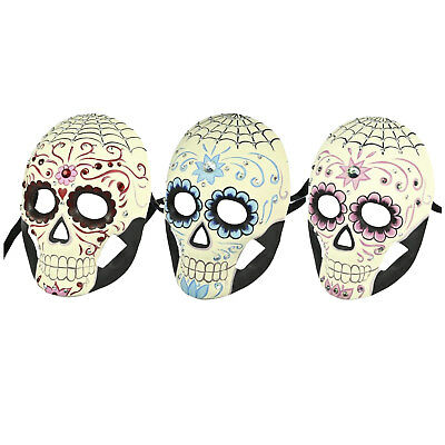 Dia de los Muertos Full Sugar Skull Mask Crystals Gems Costume Spider Web Flower