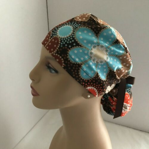 Ponytail Cap Scrub Hat - Floral on Brown