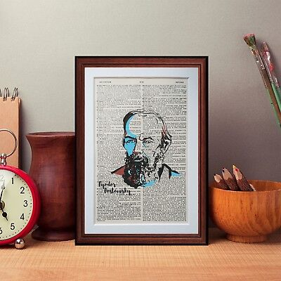 Dostoevsky dictionary page Vintage art Original print wall art gift picture A43