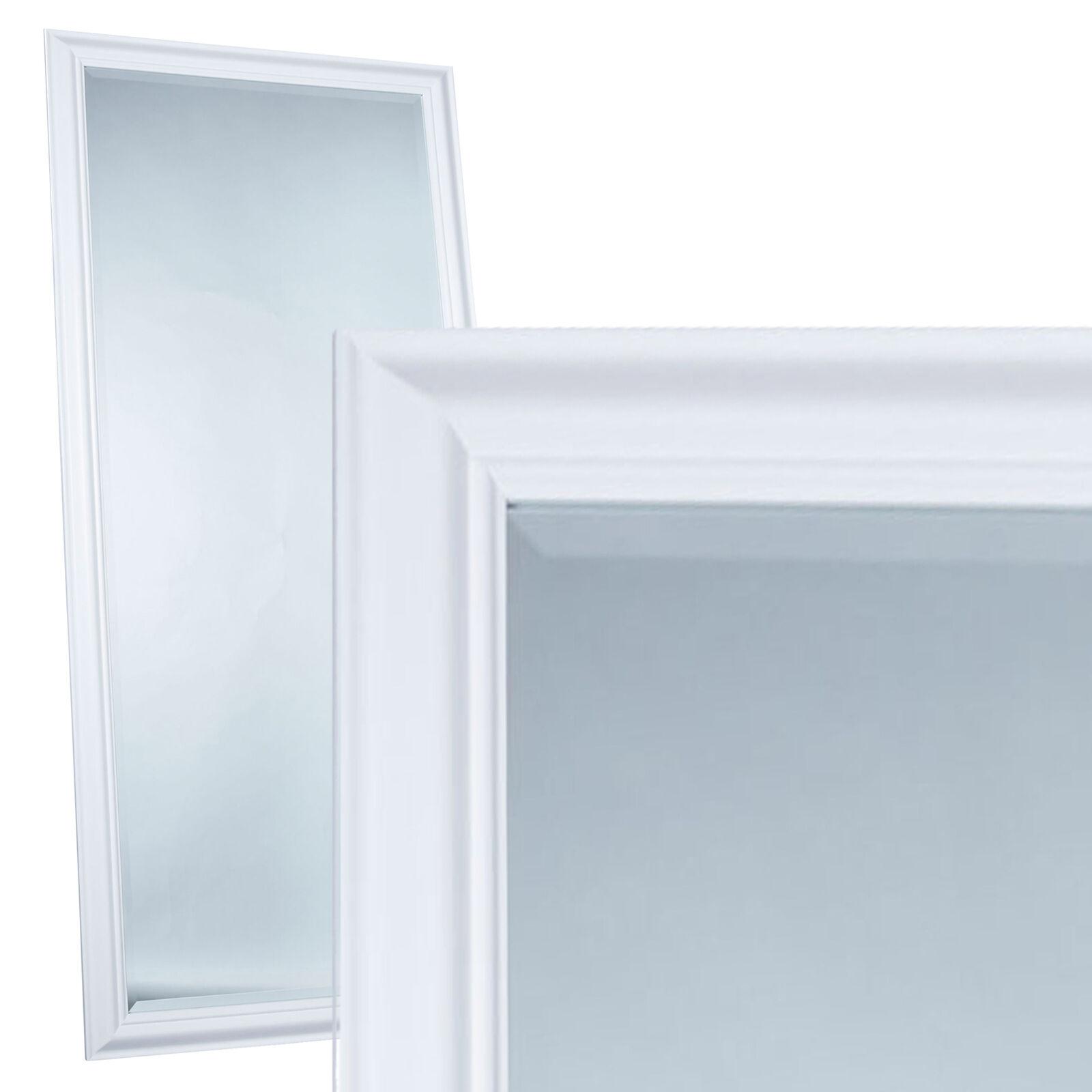 Wandspiegel Spiegel ca. 180 x 80 cm weiß schlichter Landhaus-Stil Facettenschl.