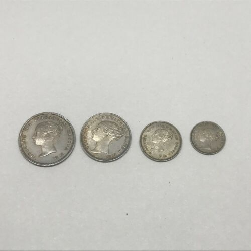 1874 Great Britain Maundy Silver 4 Coin Set 1, 2, 3, & 4 Pence Nice Unc *Q1KO